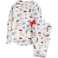 Joules Girls Sleepwell Jersey Dog Print Pyjama Set, Cream, Size Age: 9-10 Years, Women
