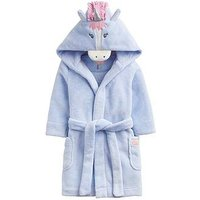 Joules Girls Unicorn Character Dressing Gown, Sky Blue, Size Age: 3-4 Years, Women