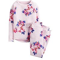 Joules Girls Sleepwell Jersey Floral Pyjama Set, Pink, Size Age: 11-12 Years, Women