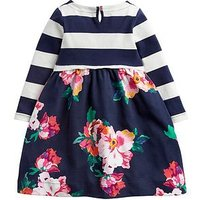 Joules Toddler Girls Layla Print Mix Dress, Navy, Size 4 Years, Women