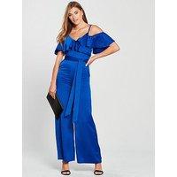 V by Very Cold Shoulder Soft Jumpsuit - Blue, Sapphire, Size 16, Women