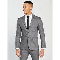 V by Very Herringbone Suit Jacket, Grey, Men