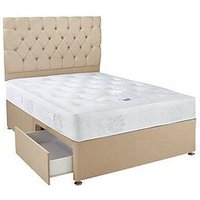 Hush From Airsprung New Astbury Ortho Divan With Storage Options - Grey, Natural