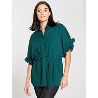 V by Very Ruffle Sleeve Blouse - Green, Green, Size 10, Women