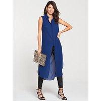 V by Very Sleeveless Longline Shirt - Cobalt, Cobalt, Size 20, Women