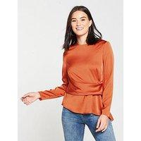 V by Very Satin Asymmetric Front Blouse - Burnt Orange, Burnt Orange, Size 18, Women