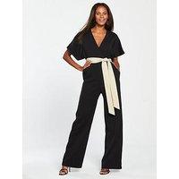 Mango Japan Belted Jumpsuit, Black, Size M, Women