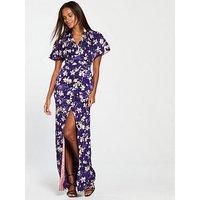 Mango Printed Maxi Dress - Purple , Purple, Size L, Women