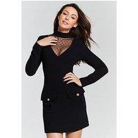 Michelle Keegan Mesh Yoke Shift Dress - Black , Black, Size 8, Women