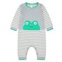 Monsoon Newborn Freddie Frog Knit Sleepsuit, Grey, Size 12-18 Months