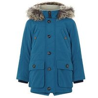 Boys, Monsoon Tommy Teal Parka Coat, Teal, Size Age: 2-3 Years