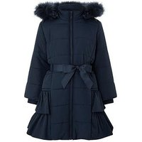 Monsoon Lola Padded Coat, Navy, Size 9-10 Years, Women