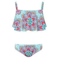 Monsoon Monica Print Bikini, Turquoise, Size Age: 12-13 Years, Women