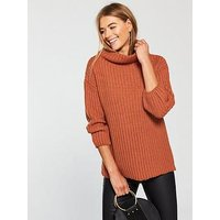 V by Very Funnel Neck Jumper - Rust , Rust, Size 10, Women