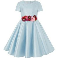 Monsoon Sheena Statement Flower Dress, Blue, Size 10 Years, Women