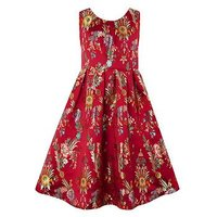 Monsoon Folk Jacquard Dress, Red, Size 9 Years, Women