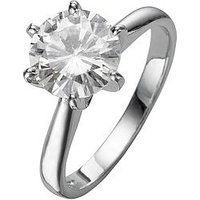 Moissanite 18 Carat White Gold 2 Carat Moissanite Ring, Size N, Women