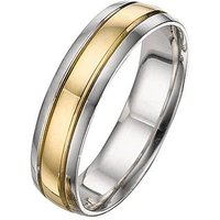 Love GOLD 9 Carat 2 Colour Wedding Band 5mm, Size O, Women