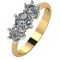 Moissanite 18 Carat Yellow Gold, 1 Carat Trilogy Ring, Size Z, Women