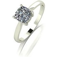Moissanite 18 Carat White Gold 100pt Equivalent Moissanite Cushion Cut Ring, Size T, Women
