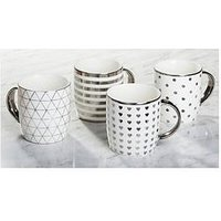 Product photograph showing Waterside Metallic Silver Mugs Ndash Set Of 4