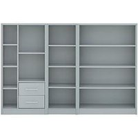 Product photograph showing Home Essentials - Metro 3 Piece Storage Bookcase Package - Grey