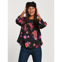 V by Very Ruffled Printed Blouse - Floral, Black Print, Size 20, Women