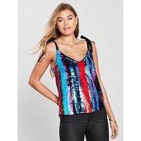 V by Very Sequin Stripe Cami Top - Multi, Multi, Size 14, Women