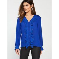 V by Very Pleat Detail Blouse - Blue, Blue, Size 12, Women