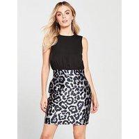 AX Paris Petite 2 In 1 Printed Skirt Dress - Black , Black, Size 6, Women