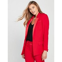 V by Very Statement Tuxedo Suit Jacket - Red, Red, Size 20, Women