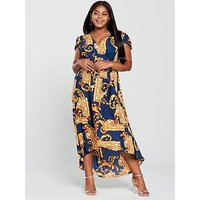 Ax Paris Curve Curve Mirror Print Maxi Dress