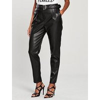 V by Very Faux Leather High Waisted Belted Trousers - Black, Black, Size 14, Women