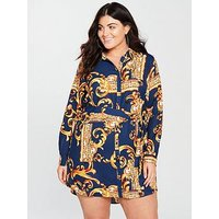 AX Paris Curve Mirror Print Shirt Dress - Navy, Navy, Size 22, Women