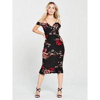 AX Paris Petite Strappy Floral Print Frill Hem Dress - Black , Black, Size 16, Women