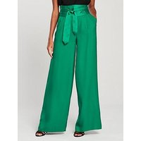 V by Very Wide Legged Belted High Waist Trousers - Green, Green, Size 12, Women