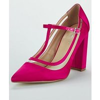 V by Very Cindy Clear Trim T-Bar Court Shoe - Pink, Fuschia, Size 4, Women