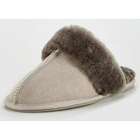 V by Very Whistle Real Suede Sheepskin Mule Slippers With Gift Box - Grey, Grey, Size S, Women