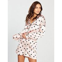 V by Very Star Satin Short Pyjama Set - Pink/Black , Pink/Black, Size 12, Women
