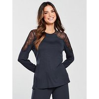 B By Ted Baker Signature Lace Jersey Long Sleeve Top - Navy, Navy, Size 8, Women