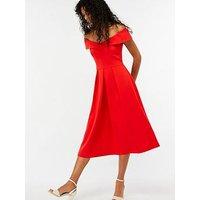 Monsoon Vivienne Bardot Dress - Red , Red, Size 22, Women