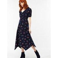 Monsoon Hannah Print Dress - Navy