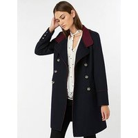 Monsoon Mya Military Coat - Navy , Navy, Size 8, Women