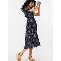Monsoon Suki Spot Print Midi Dress, Navy, Size 12, Women
