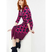 Monsoon Gabby Geo Print Shirt Dress, Pink, Size 20, Women