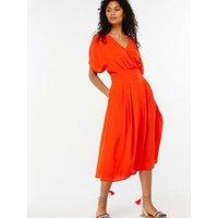 Monsoon Alba Wrap Kimono Dress - Blood Orange, Orange, Size 8, Women