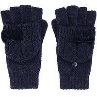 Monsoon Girls Ellie Velvet Bow Cable Capped Glove, Navy, Size 6-10 Years