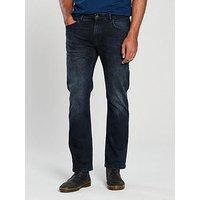 V by Very Straight Fit Black Wash, Black Wash, Size 40, Inside Leg Regular, Men
