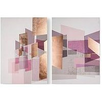 Product photograph showing Graham Brown Rose Gold Geos Canvas Wall Art