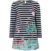 Monsoon Minella Sweat Dress, Navy, Size 9-10 Years, Women